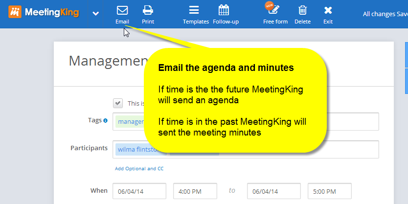how to send minutes of meeting email