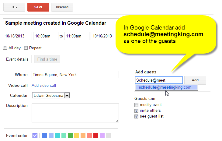 Create A Meeting Directly From Outlook Ical Google Calendar
