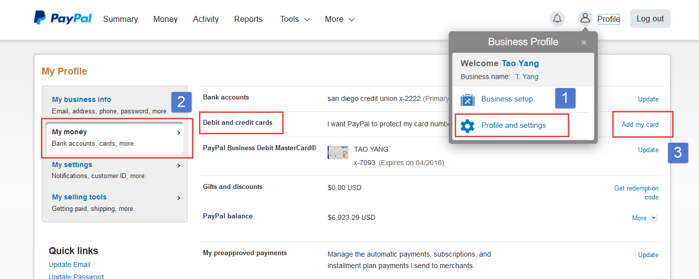 Link Your Card on PayPal - ASellerTool Solutions User Guide - 1
