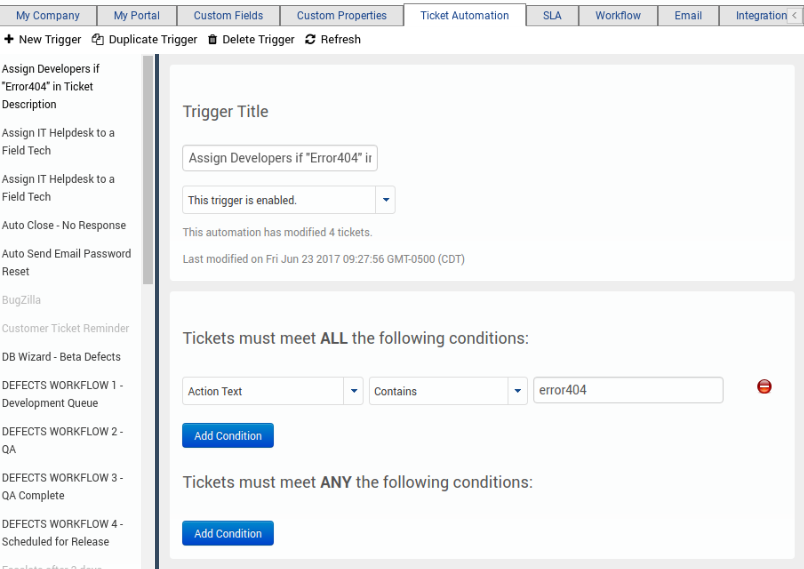 Creating a Ticket Automation Trigger - Customer Support