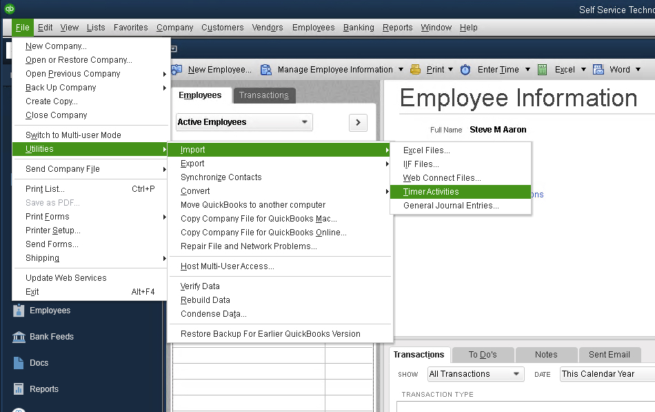 Importing Transactions Into QuickBooks Desktop - Telephone