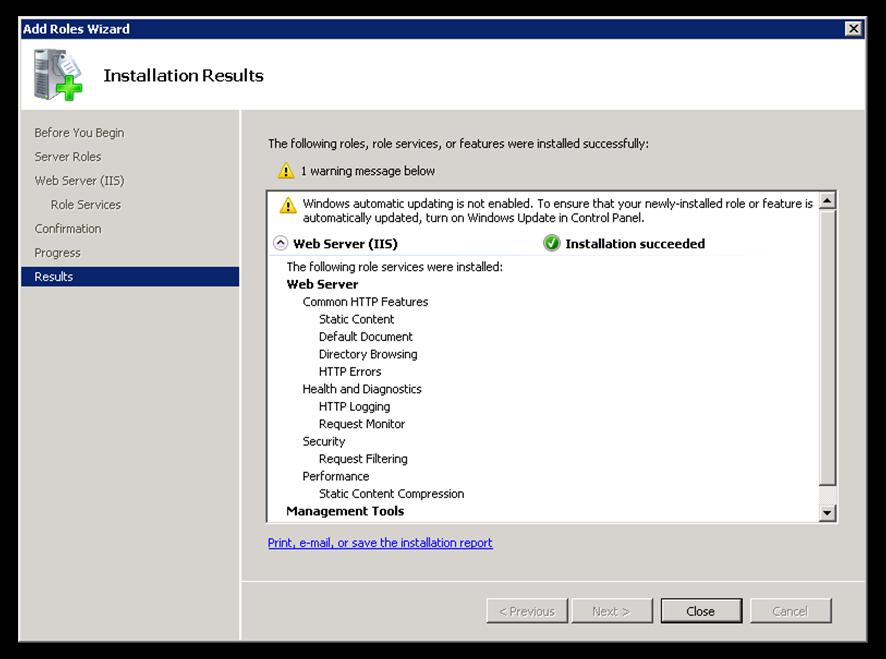 3 1  Web Server (IIS) Setup - Akkadian Console Server - 3 2 0