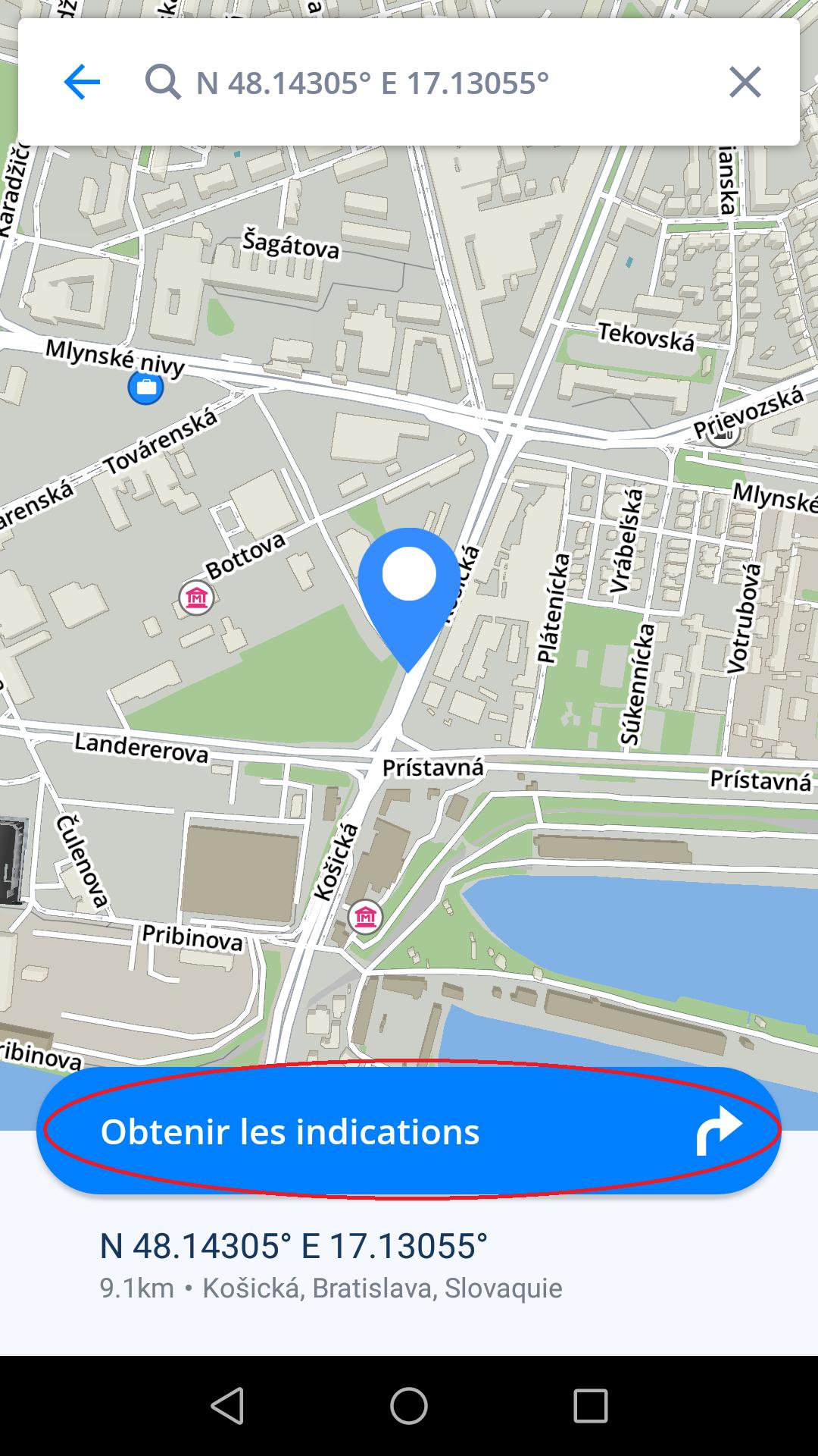naviguer vers coordonn es gps sygic gps navigation for android 17 1. Black Bedroom Furniture Sets. Home Design Ideas