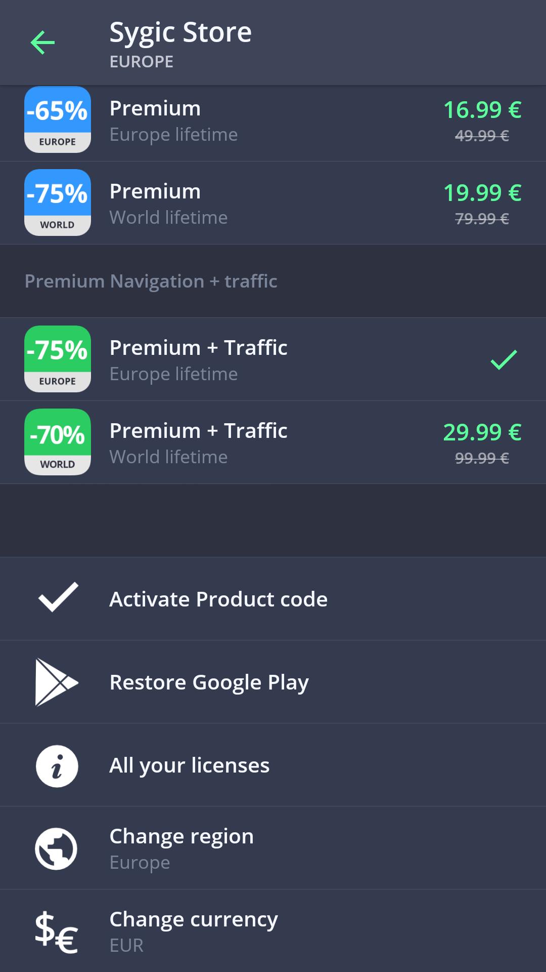 sygic premium code