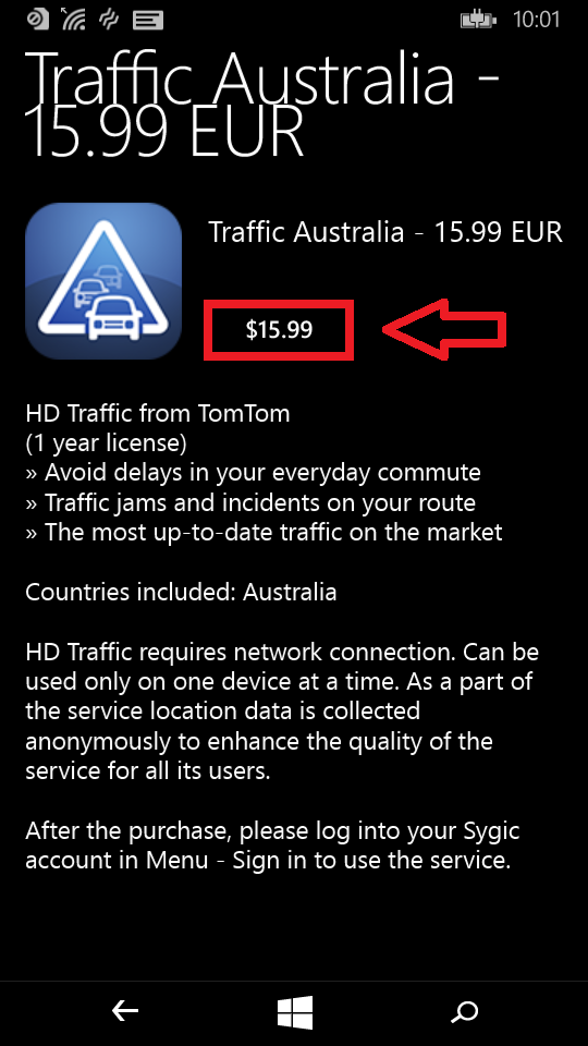How to buy Traffic - Sygic GPS Navigation for Windows Phone