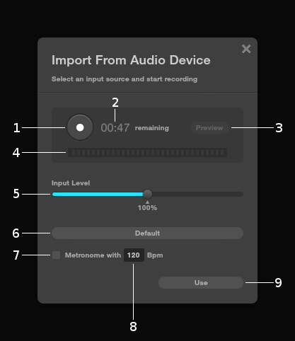 Import from audio device - Audiotool User Manual - Flash