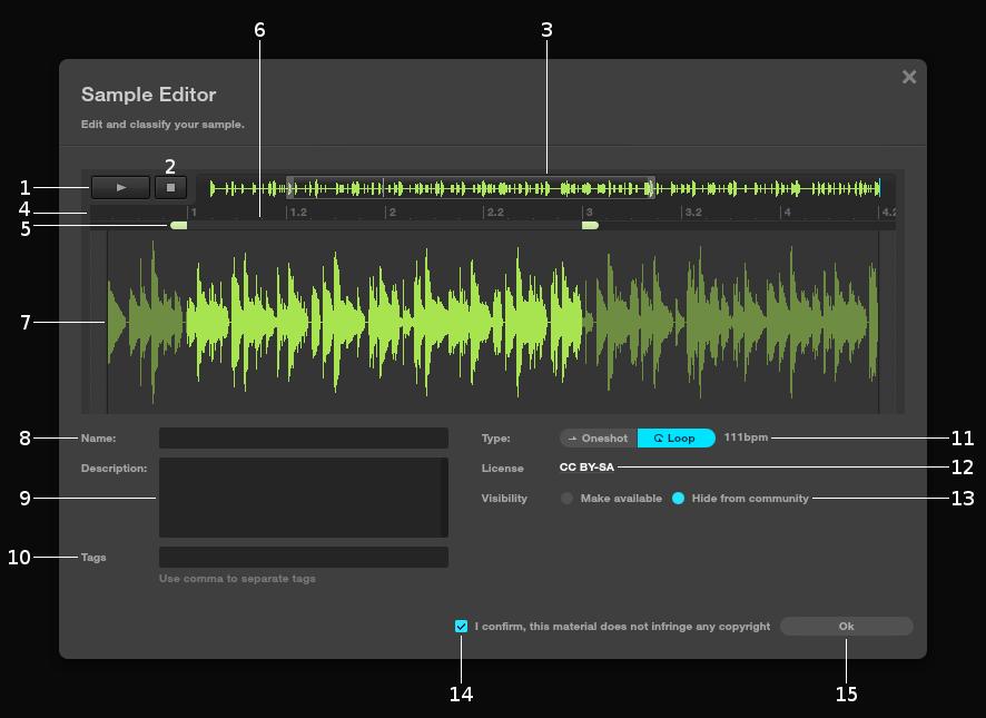 Sample editor - Audiotool User Manual - Flash