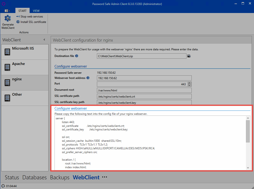 Installation Of The Webclient Password Safe V8 850