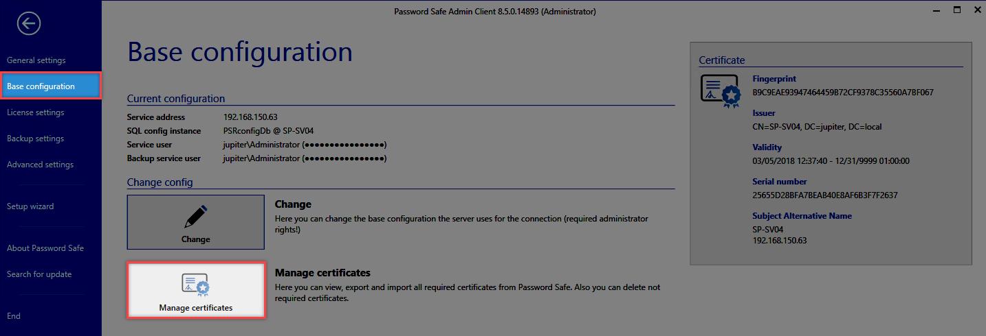 Certificates - Password Safe V8 - 8.6.0