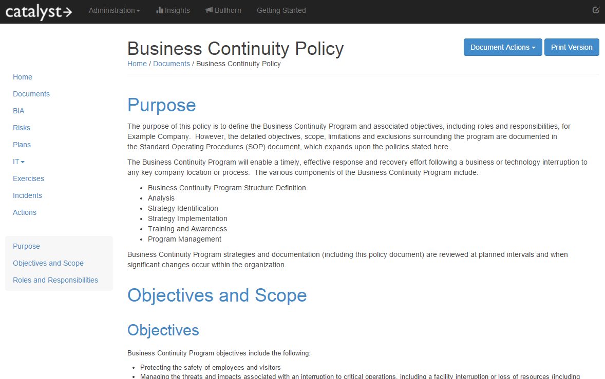 Business continuity policy and sop catalyst administrator guide 1 business continuity policy and sop fbccfo Gallery