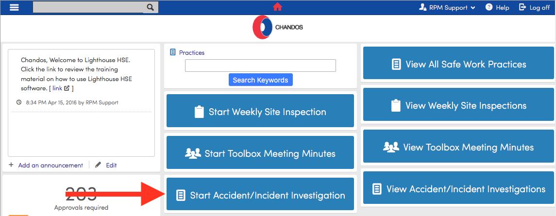 Accident/Incident Investigation - Chandos - 1
