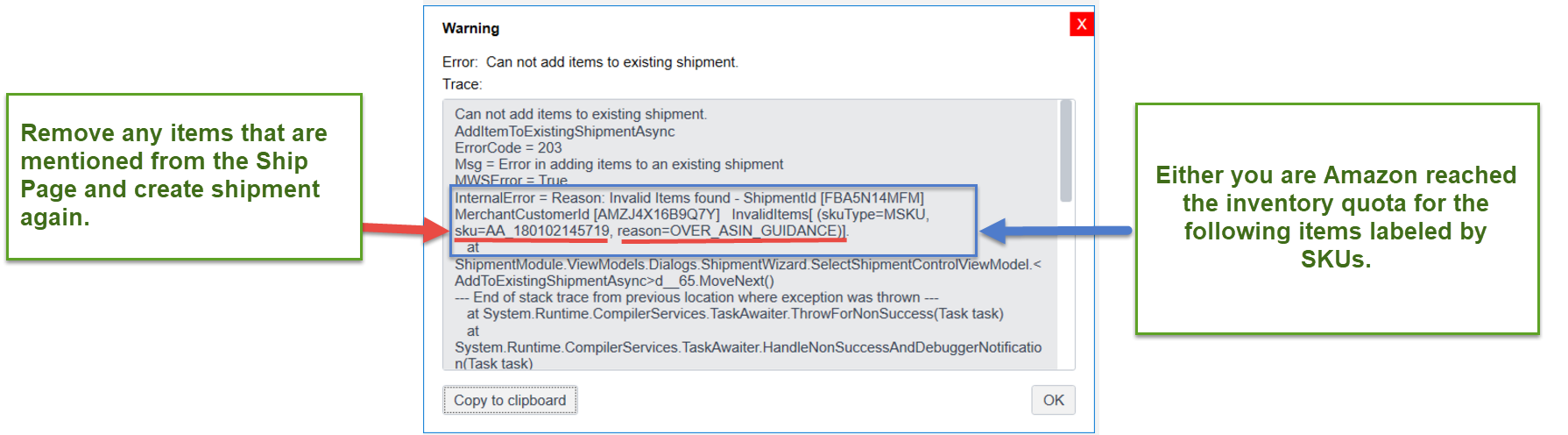 OVER_ASIN_GUIDANCE Error when adding an item to FBA